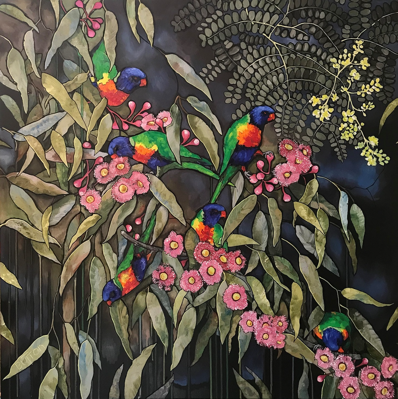 (CreativeWork) Lorrikeet in the rain by Kirsten Button. Acrylic Paint. Shop online at Bluethumb.