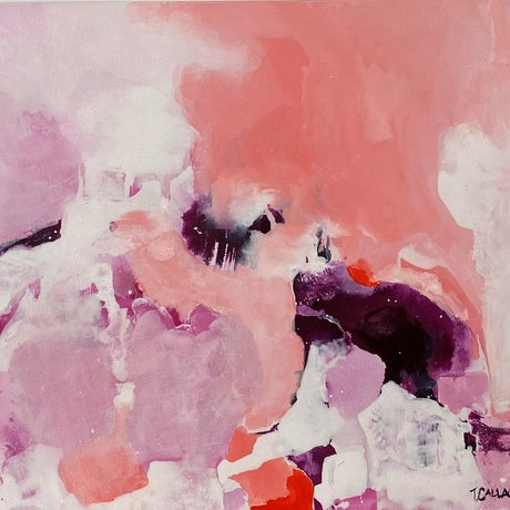 (CreativeWork) Playing with Pink by Trish Callaghan. Mixed Media. Shop online at Bluethumb.
