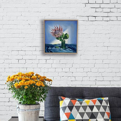 (CreativeWork) King Protea in Vase by Madeleine Simson. Acrylic Paint. Shop online at Bluethumb.