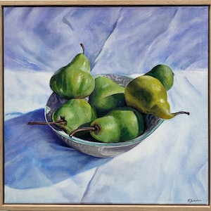 (CreativeWork) PEARS by Madeleine Simson. Acrylic Paint. Shop online at Bluethumb.