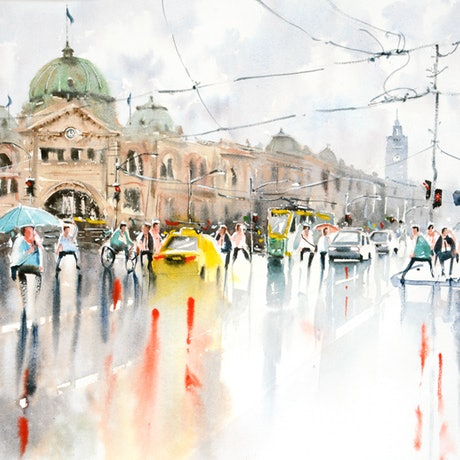 (CreativeWork) Rainy Day Flinders Street, Melbourne by Chrysovalantou Mavroudis. Watercolour Paint. Shop online at Bluethumb.