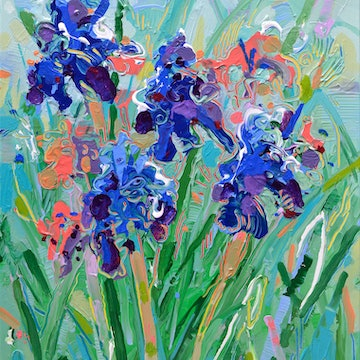 (CreativeWork) Blue Irises by Joseph Villanueva. #<Filter:0x00005648ec899780>. Shop online at Bluethumb.