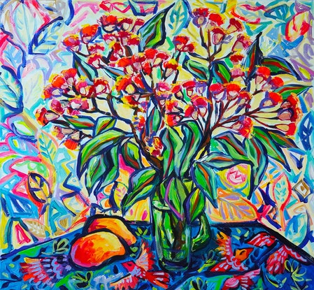 (CreativeWork) Flowering Gum by Katerina Apale. Acrylic Paint. Shop online at Bluethumb.