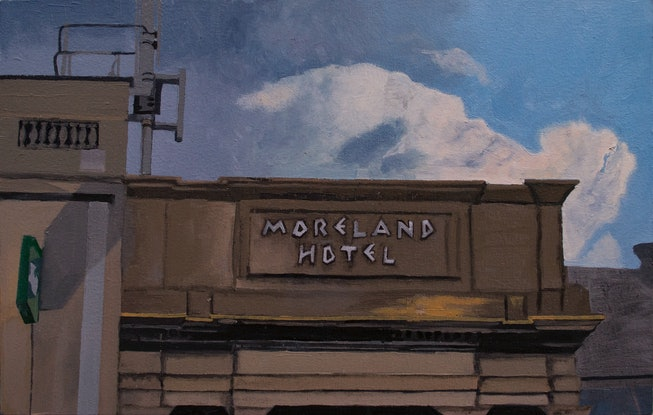(CreativeWork) Moreland Hotel Facade by Alex Sinclair. Oil Paint. Shop online at Bluethumb.