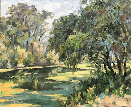 (CreativeWork) Georges River afternoon near Casula by Fangmin Wu. Oil Paint. Shop online at Bluethumb.