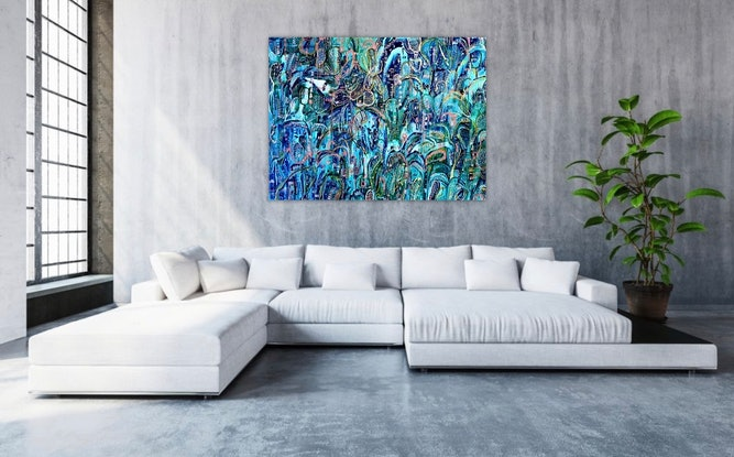(CreativeWork) Tropicana Crush by Carley Bourne. Acrylic Paint. Shop online at Bluethumb.