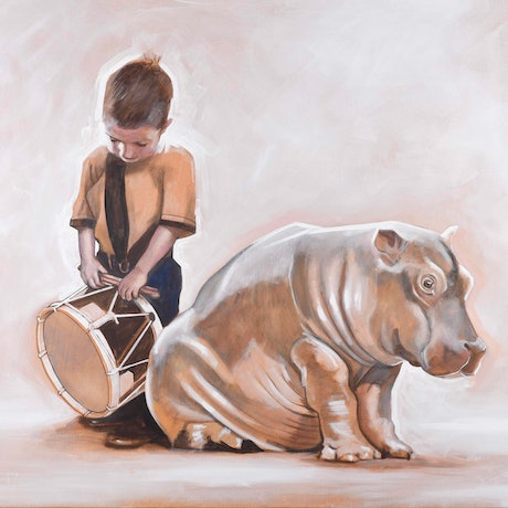 (CreativeWork) 'The Drumming Boy and The Hippopotamus' Limited Edition Fine Art Print Ed. 3 of 50 by Ross Morgan. Print. Shop online at Bluethumb.