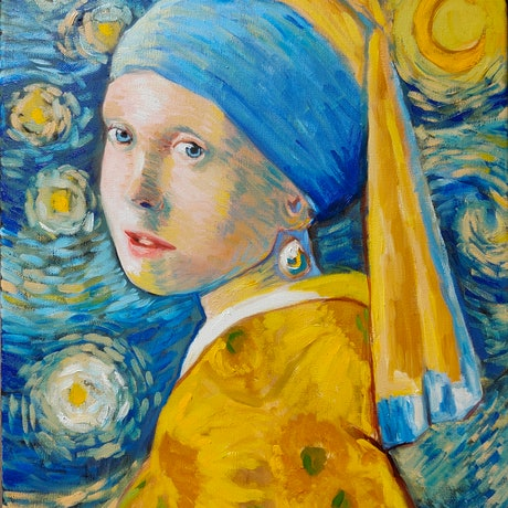 (CreativeWork) Van Gogh with a Pearl Earring  by Rebecca Read. Oil Paint. Shop online at Bluethumb.