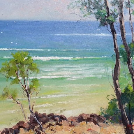 (CreativeWork) View From Noosa National Park Walk by Rod Moore. Oil Paint. Shop online at Bluethumb.