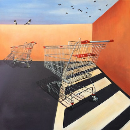 (CreativeWork) TROLLEY SUNSET by Madeleine Simson. Acrylic Paint. Shop online at Bluethumb.