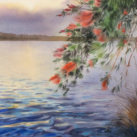 (CreativeWork) Evening at Lake Conjola by Olga Read. Watercolour Paint. Shop online at Bluethumb.