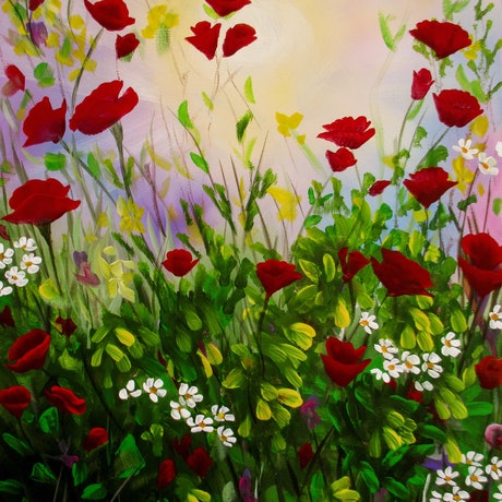 (CreativeWork) Wildflowers 4 by Debra Dickson. Acrylic Paint. Shop online at Bluethumb.