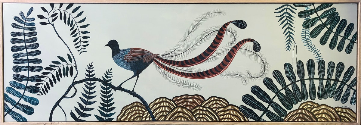 (CreativeWork) Superb Lyrebird 2020 by Sally Browne. Acrylic Paint. Shop online at Bluethumb.