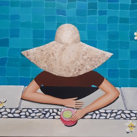 (CreativeWork) Poolside Bali style by Andrea Berry. Acrylic Paint. Shop online at Bluethumb.