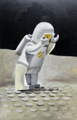 (CreativeWork) Spaceman One may have forgotten to fill his oxygen tank by Ben Sherar. Oil Paint. Shop online at Bluethumb.