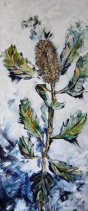 (CreativeWork) Banksia by Katerina Apale. Acrylic Paint. Shop online at Bluethumb.