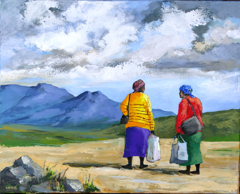 (CreativeWork) The Conversation by David Lister. Acrylic Paint. Shop online at Bluethumb.