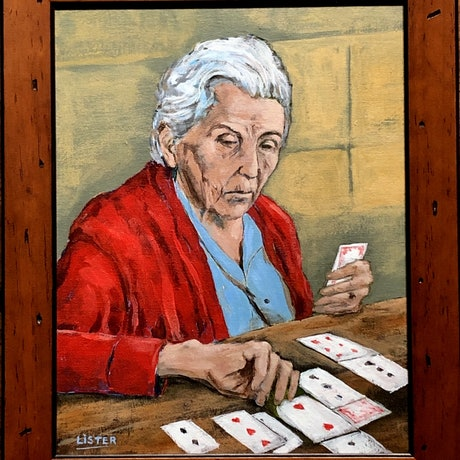 (CreativeWork) The Card Player by David Lister. Acrylic Paint. Shop online at Bluethumb.