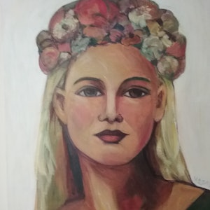 (CreativeWork) The Garland Girl by Margit Major. Acrylic Paint. Shop online at Bluethumb.