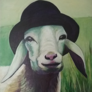 (CreativeWork) Sheepish by Margit Major. Acrylic Paint. Shop online at Bluethumb.