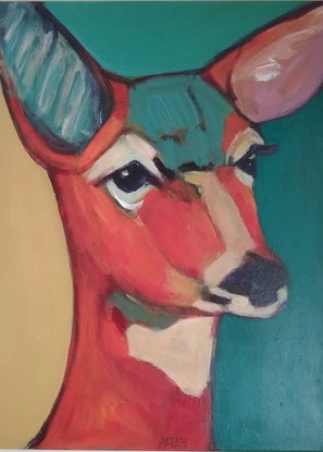 (CreativeWork) The Fawn by Margit Major. Acrylic Paint. Shop online at Bluethumb.