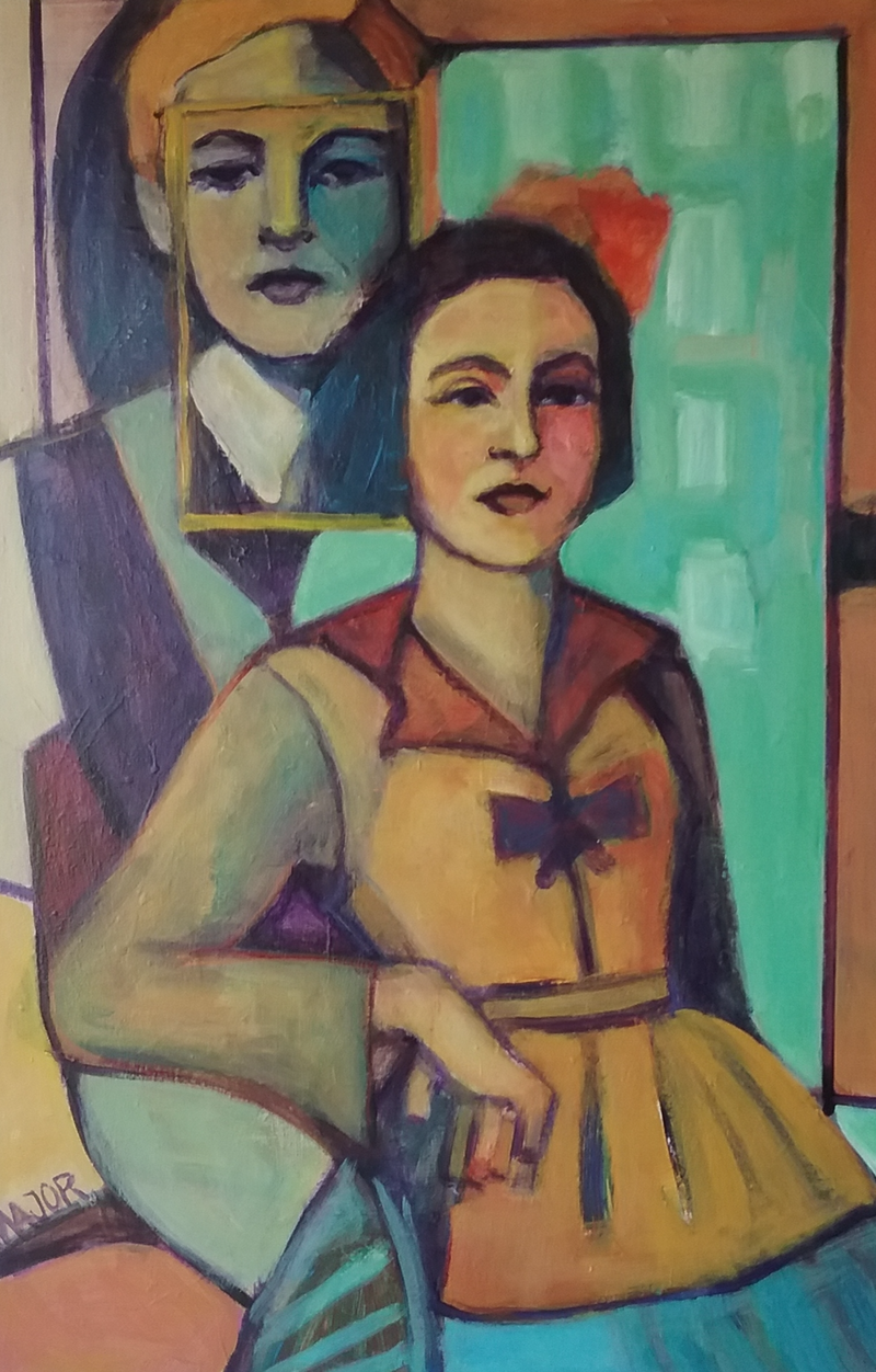 (CreativeWork) Young Couple by Margit Major. Acrylic Paint. Shop online at Bluethumb.