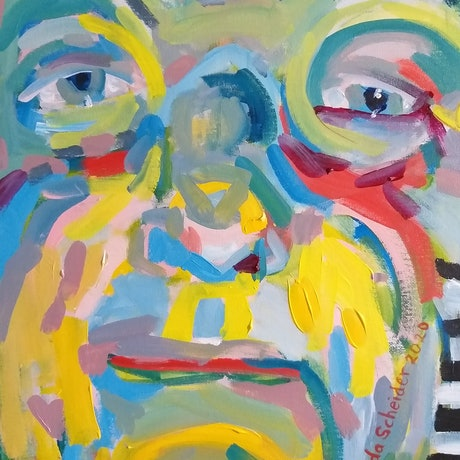 (CreativeWork) Yellow Chin - self portrait (ready to hang with painted sides and wire across back) by Linda Schneider. Acrylic Paint. Shop online at Bluethumb.