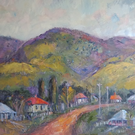 (CreativeWork) Murrurundi in May. by ELAINE ROMALIS. Oil Paint. Shop online at Bluethumb.