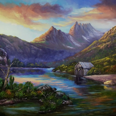 (CreativeWork) First light on Cradle Mountain, Tasmania - ready to hang   by Christopher Vidal. Oil Paint. Shop online at Bluethumb.