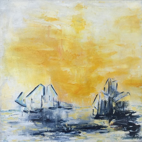 (CreativeWork) Ships at Sunset by Chalisa Morrison. Acrylic Paint. Shop online at Bluethumb.