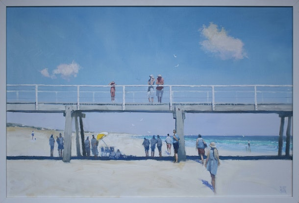 (CreativeWork) Semaphore Sunday - A modern-day echo of Holiday at Mentone by Mike Barr. Oil. Shop online at Bluethumb.