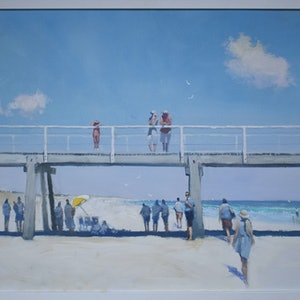 (CreativeWork) Semaphore Sunday - A modern-day echo of Holiday at Mentone by Mike Barr. Oil Paint. Shop online at Bluethumb.