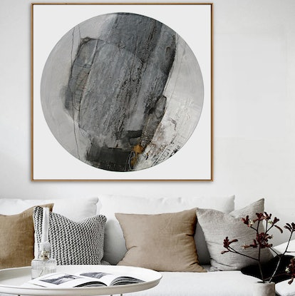 (CreativeWork) Sura (Valiant) - large square neutral abstract by Stephanie Laine. Mixed Media. Shop online at Bluethumb.