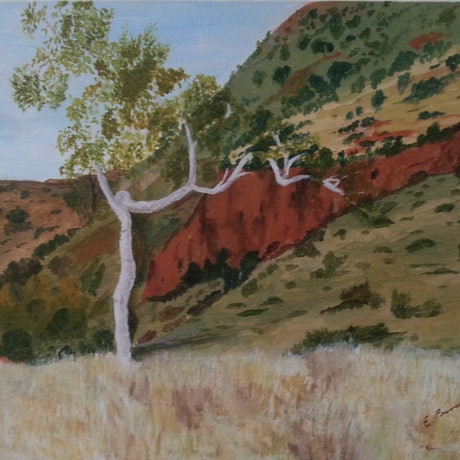 (CreativeWork) Outback Landscape by Elisabeth Puruto. Acrylic Paint. Shop online at Bluethumb.