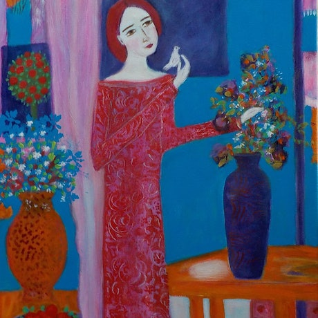 """(CreativeWork) """" Interior with moonlight"""" by Catherine Walker. Acrylic Paint. Shop online at Bluethumb."""