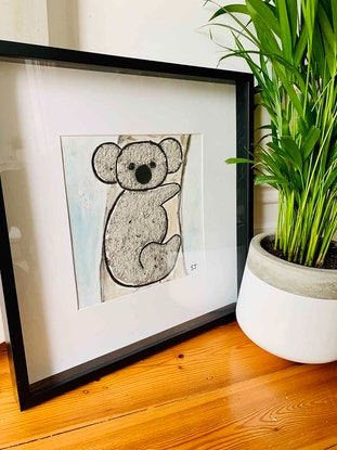 (CreativeWork) Framed Painting Koala II - Helping Adelaide Koala Rescue   By Sarah Jane 2020 Collection by Sarah Jane __. Mixed Media. Shop online at Bluethumb.