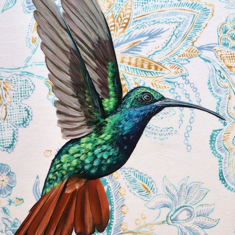 (CreativeWork) Humming Bird # 1   by REK .. Acrylic Paint. Shop online at Bluethumb.