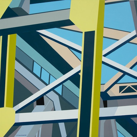(CreativeWork) Bridge Composition I by Dean O'Callaghan. Acrylic Paint. Shop online at Bluethumb.