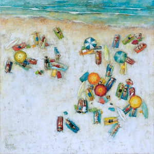 (CreativeWork) 'The Sunbathers' Ed. 6 of 100 by Wendy Wooden. Print. Shop online at Bluethumb.