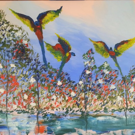 (CreativeWork) Lorikeets Among The flowers by owen jones. Oil Paint. Shop online at Bluethumb.