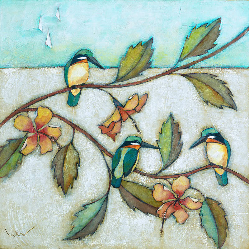(CreativeWork) 'KINGFISHERS AND HIBISCUS' by Wendy Wooden. Acrylic Paint. Shop online at Bluethumb.