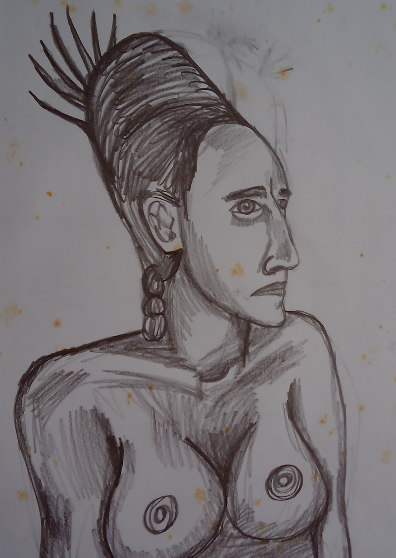 (CreativeWork) FEATHER HEAD DRESS. by Paula Reilly. Drawings. Shop online at Bluethumb.