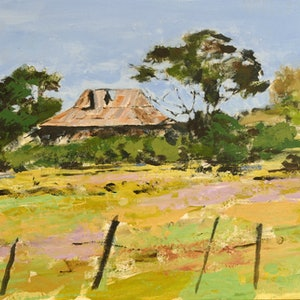 (CreativeWork) Farmhouse by David Lister. Acrylic Paint. Shop online at Bluethumb.