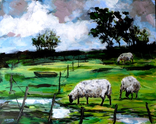 (CreativeWork) After the Rain by David Lister. Acrylic Paint. Shop online at Bluethumb.