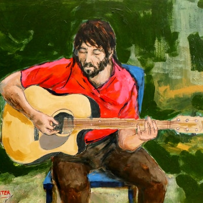 (CreativeWork) Guitar Player by David Lister. #<Filter:0x00007f02b0ed86b8>. Shop online at Bluethumb.