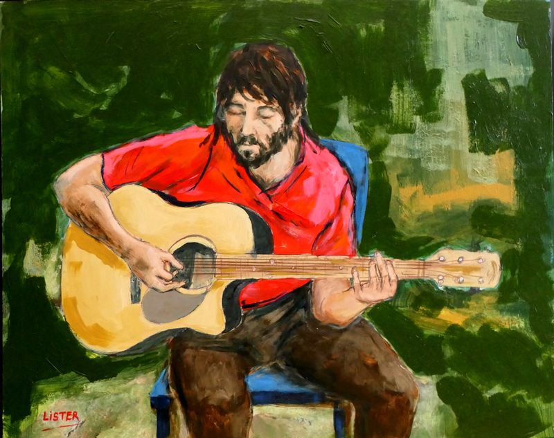 (CreativeWork) Guitar Player by David Lister. Acrylic Paint. Shop online at Bluethumb.