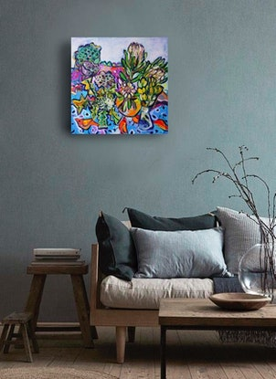 (CreativeWork) Still Life with Lotus Pods and Proteas by Katerina Apale. Acrylic Paint. Shop online at Bluethumb.