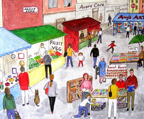 "(CreativeWork) ""Market Day"" Original Busy Cityscape Folk Painting 38 x 30 cm by Fran Caldwell. Acrylic Paint. Shop online at Bluethumb."
