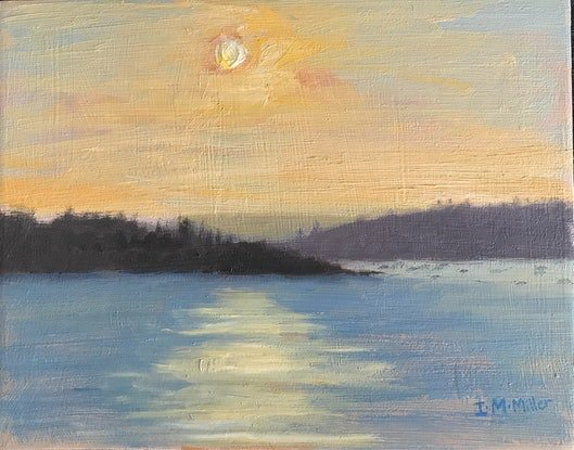 (CreativeWork) Sunrise - Yellow & Apricot  by Ishbel Morag Miller. Oil Paint. Shop online at Bluethumb.