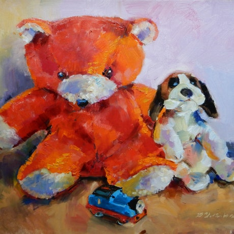 (CreativeWork) Toys by Elena Churilova. Oil Paint. Shop online at Bluethumb.